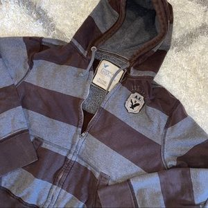 American Eagle Striped Zip Up Hoodie Men XLarge